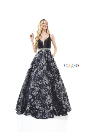Colors Dress 2273 prom dress images.  Colors 2273 dresses are available in these colors: Black Gold, Black Silver, Yellow Royal.