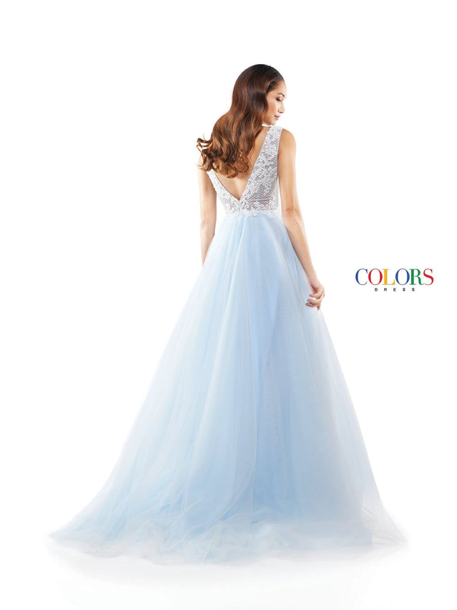 Colors Dress 2284 prom dress images.  Colors 2284 dresses are available in these colors: Blue, Pink, Off White.