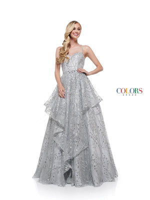 Colors Dress 2289 prom dress images.  Colors 2289 dresses are available in these colors: Light Blue, Rose Gold, Silver, Neon Yellow.