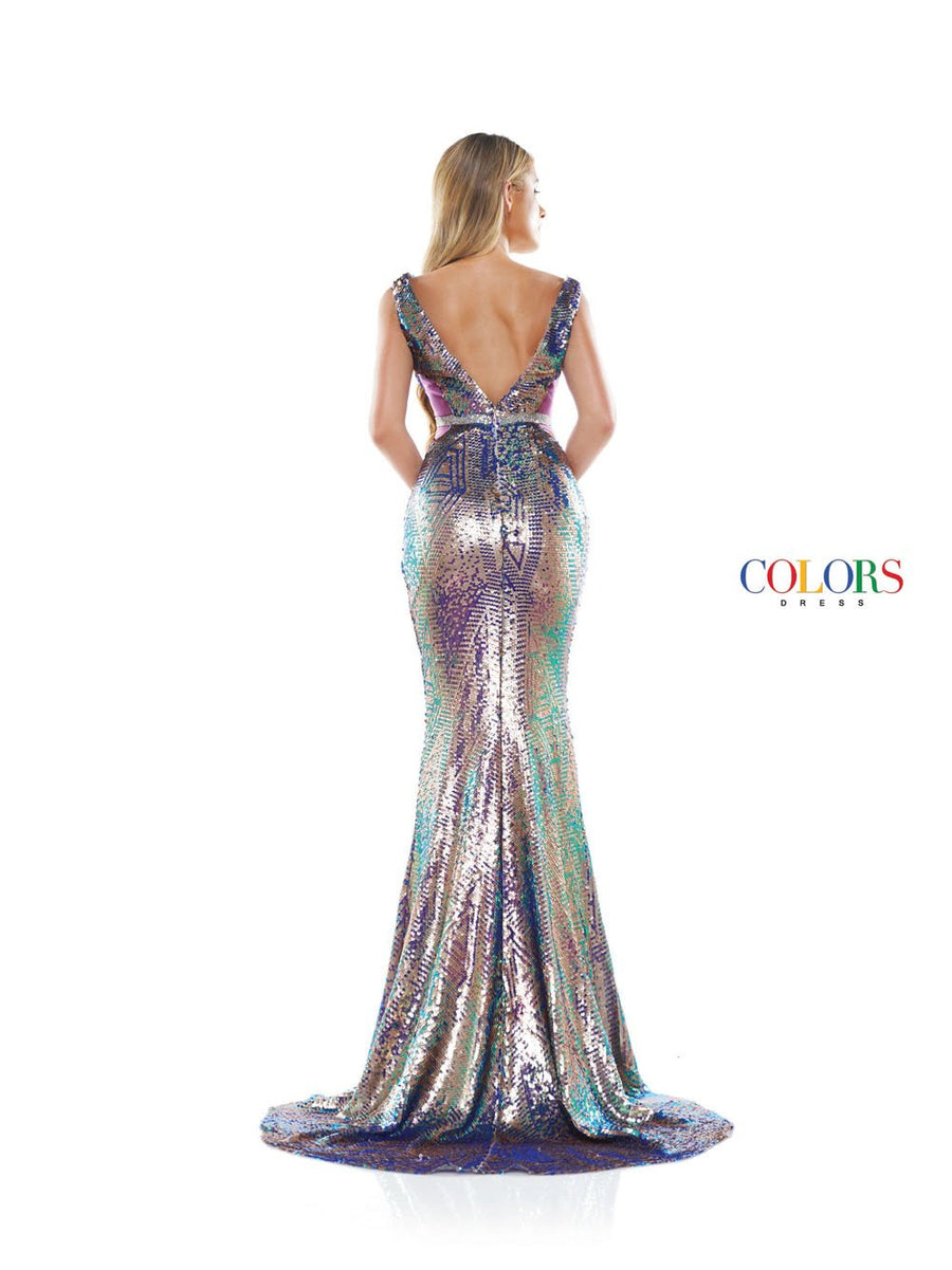 Colors Dress 2298 prom dress images.  Colors 2298 dresses are available in these colors: Green Multi, Pink Multi, Royal Multi.