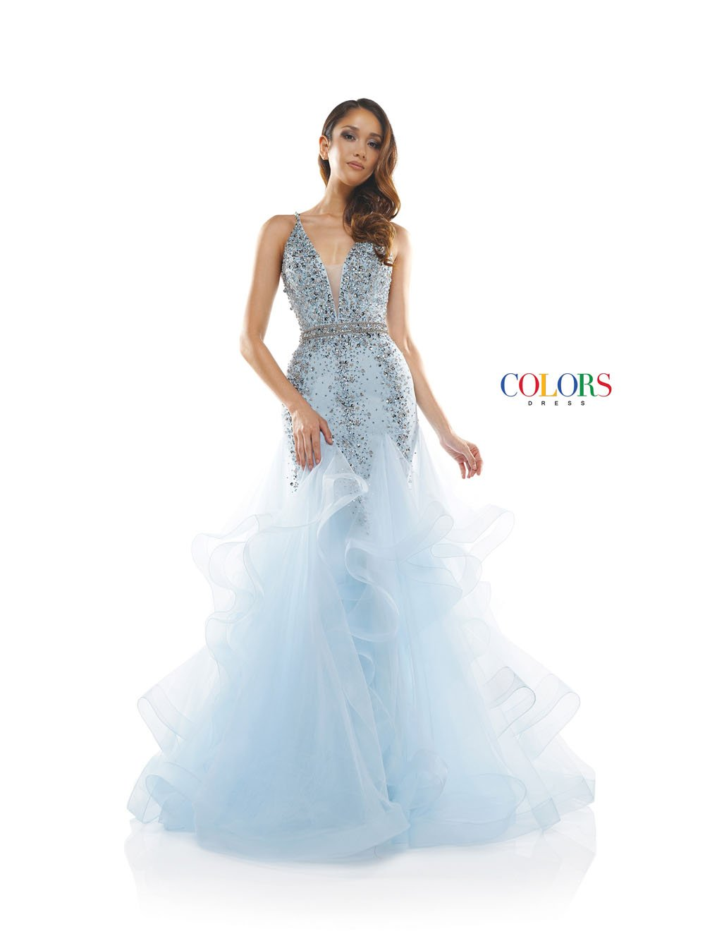 Colors Dress 2301 prom dress images.  Colors 2301 dresses are available in these colors: Baby Blue, Rose Gold, Off White.