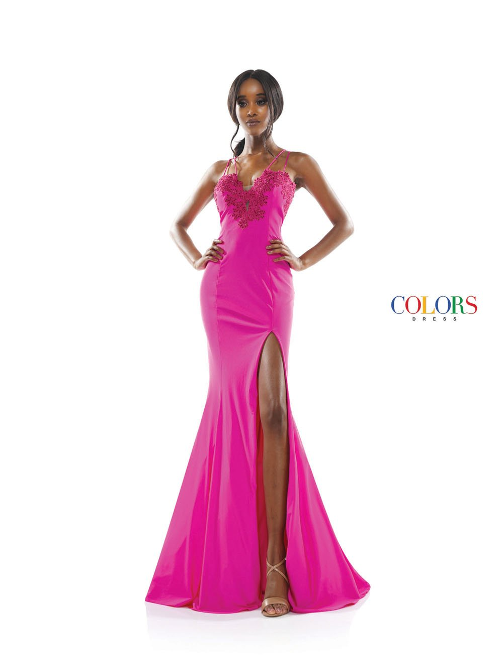 Colors Dress 2302 prom dress images.  Colors 2302 dresses are available in these colors: Hot Pink, Royal, Bright Yellow.