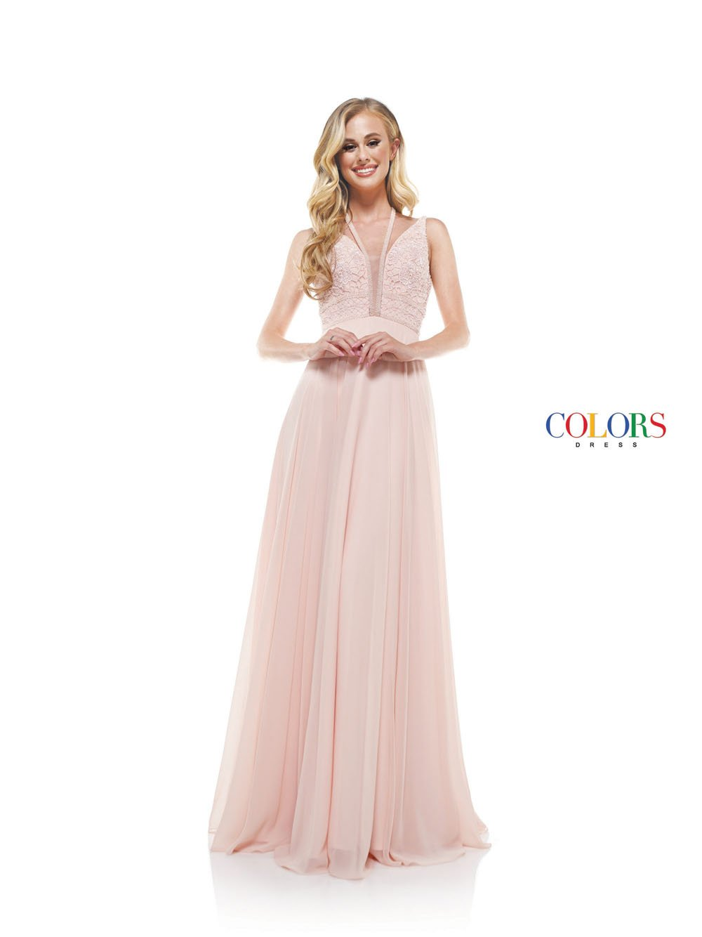 Colors Dress 2320 prom dress images.  Colors 2320 dresses are available in these colors: Blush, Off White, Yellow.