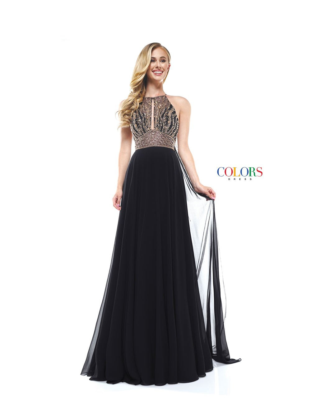 Colors Dress 2335 prom dress images.  Colors 2335 dresses are available in these colors: Black, Royal, Off White.