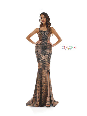 Colors Dress 2338 prom dress images.  Colors 2338 dresses are available in these colors: Black Copper, Black Royal, Black Off White.