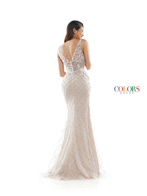 Colors Dress 2343 prom dress images.  Colors 2343 dresses are available in these colors: Black Nude, Nude Off White.
