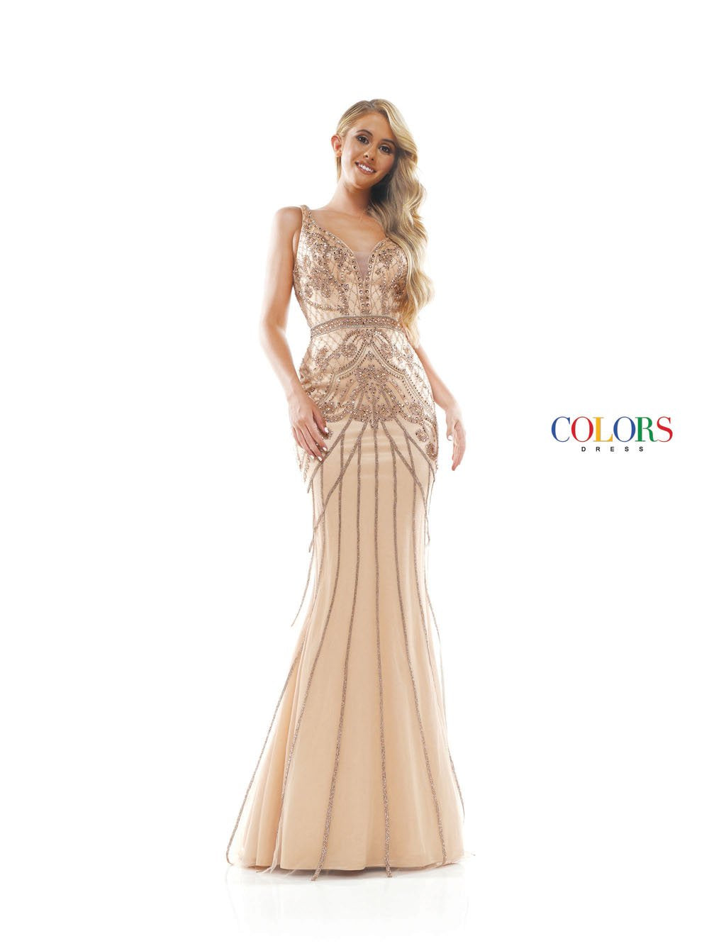 Colors Dress 2344 prom dress images.  Colors 2344 dresses are available in these colors: Nude, Navy.