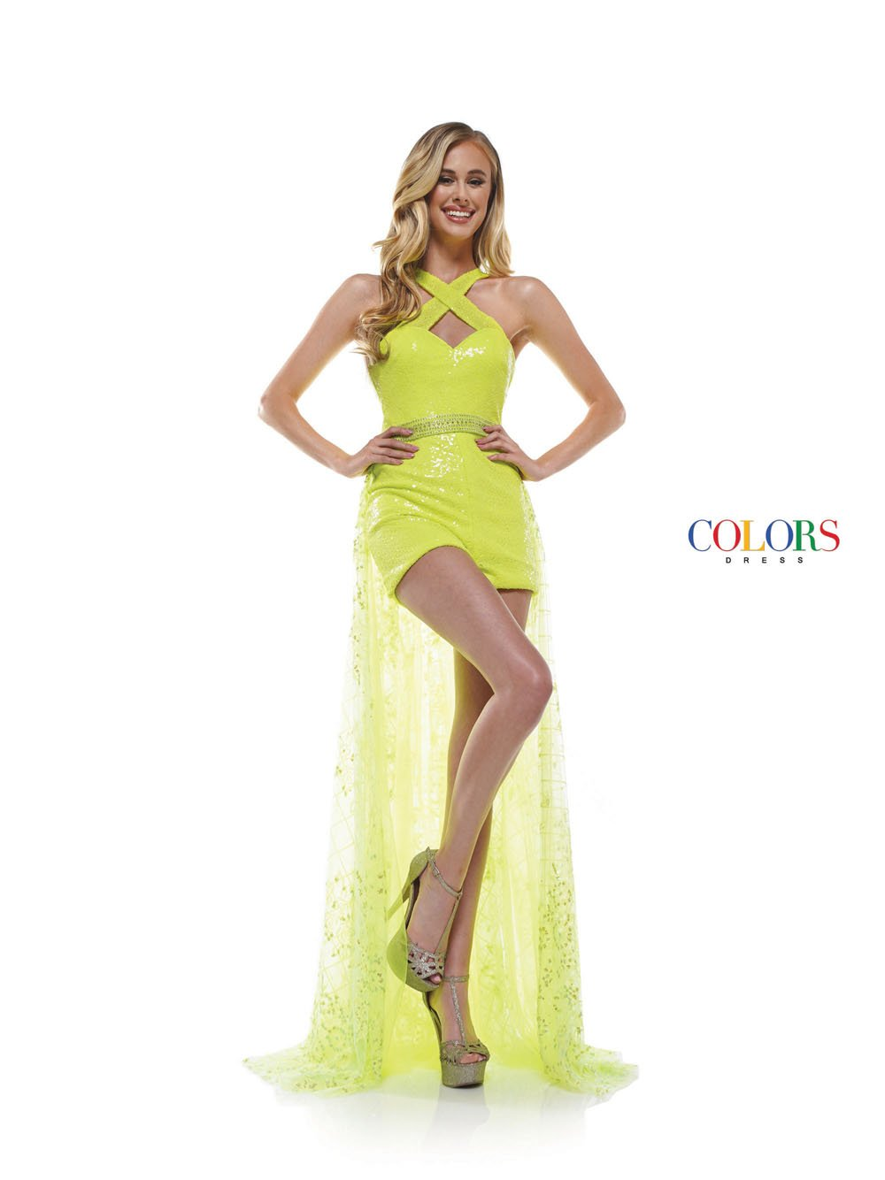 Colors Dress 2346 prom dress images.  Colors 2346 dresses are available in these colors: Black, Lime, Hot Pink, Off White.