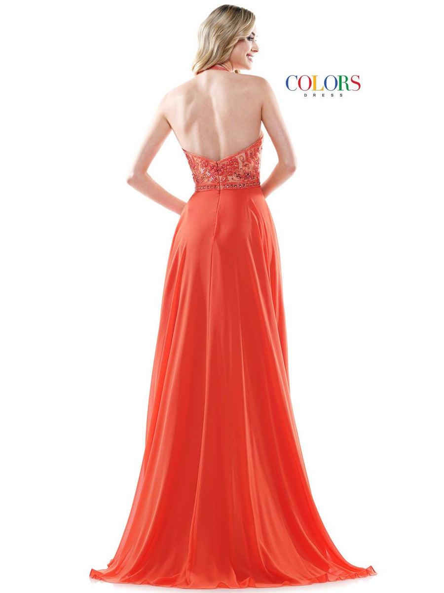 Colors Dress 2414 prom dress images.  Colors Dress 2414 is available in these colors: Orange, Hot Pink, Deep Green.