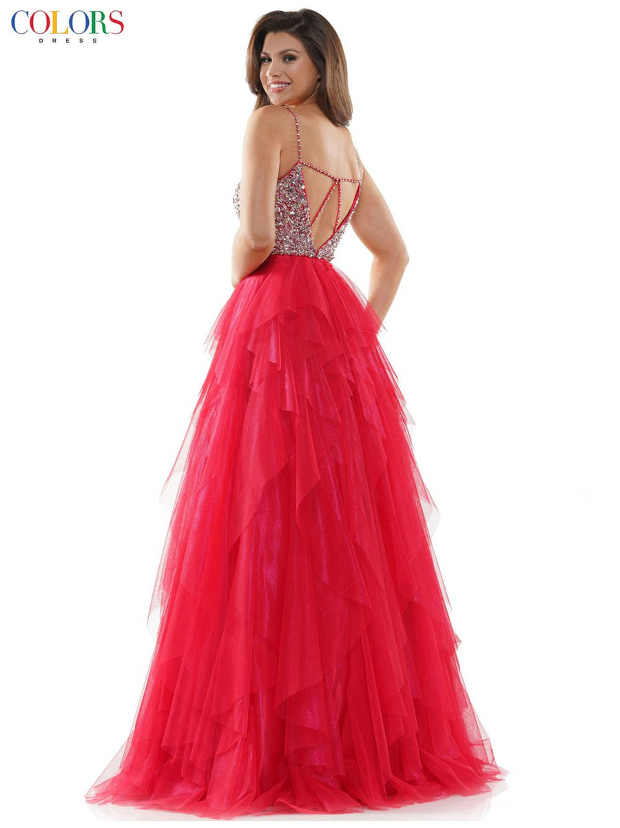 Colors Dress 2444 prom dress images.  Colors Dress 2444 is available in these colors: Gunmetal, Light Blue, Red.