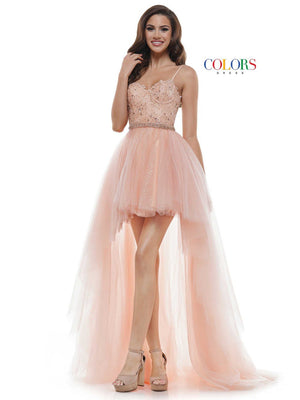 Colors Dress 2483 prom dress images.  Colors Dress 2483 is available in these colors: Peach, Light Yellow, Mint.