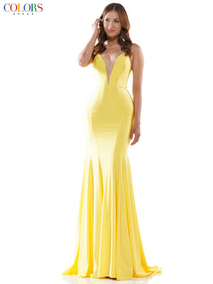 Colors Dress 2486 prom dress images.  Colors Dress 2486 is available in these colors: Black, Light Pink, Yellow, Neon Orange.