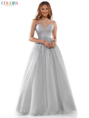 Colors Dress 2495 prom dress images.  Colors Dress 2495 is available in these colors: Light Blue, Purple, Silver Multi.