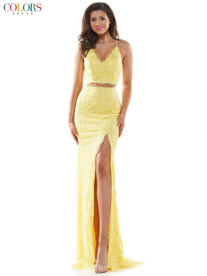 Colors Dress 2562 prom dress images.  Colors Dress 2562 is available in these colors: Light Blue, Light Yellow, Hot Pink, Linght Pink.