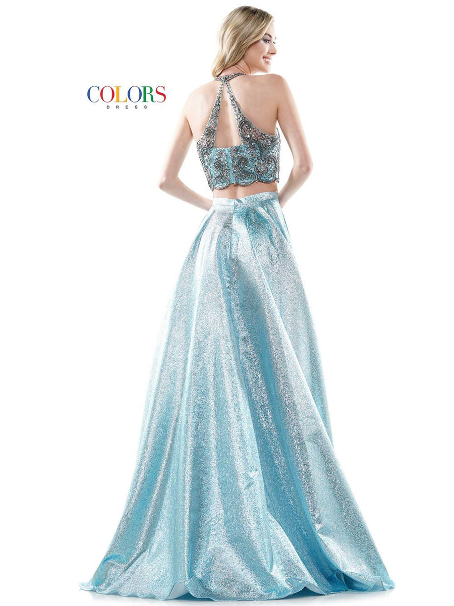 Colors Dress 2587 prom dress images.  Colors Dress 2587 is available in these colors: Black Silver, Gold, Light Blue.