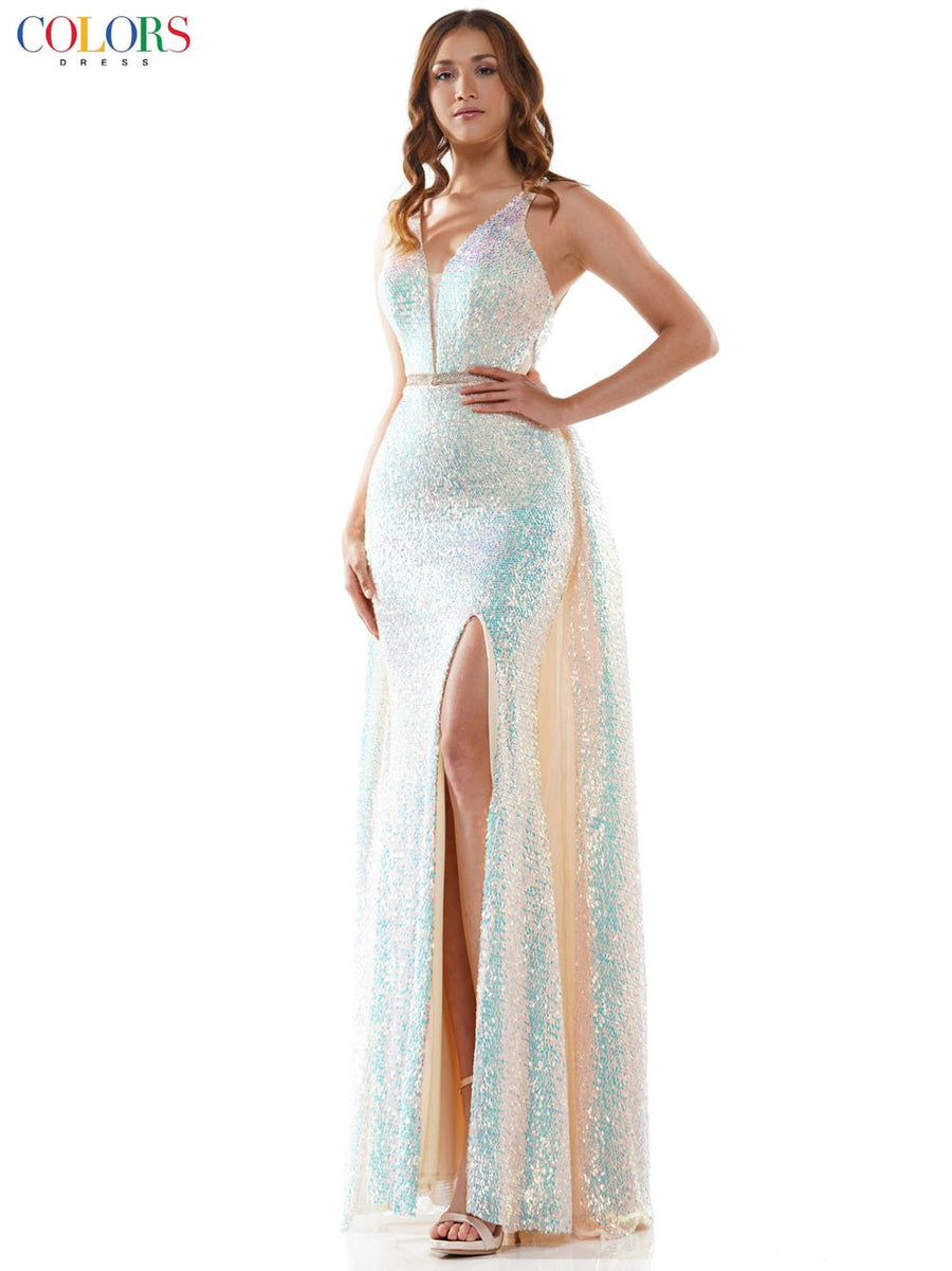 Colors Dress 2588 prom dress images.  Colors Dress 2588 is available in these colors: Black, Blue, Champagne.