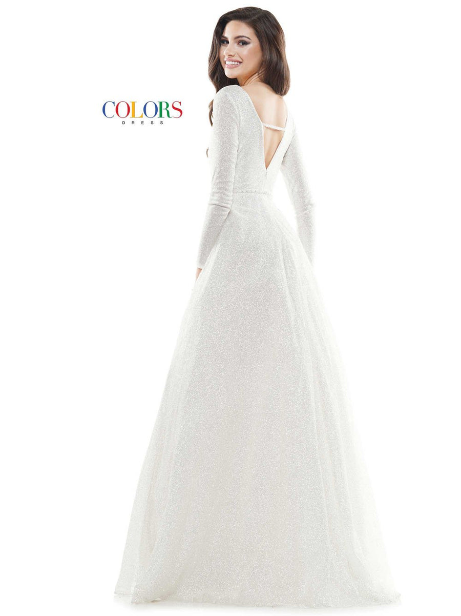 Colors Dress 2594 prom dress images.  Colors Dress 2594 is available in these colors: Gold, Slate Blue, Off White.