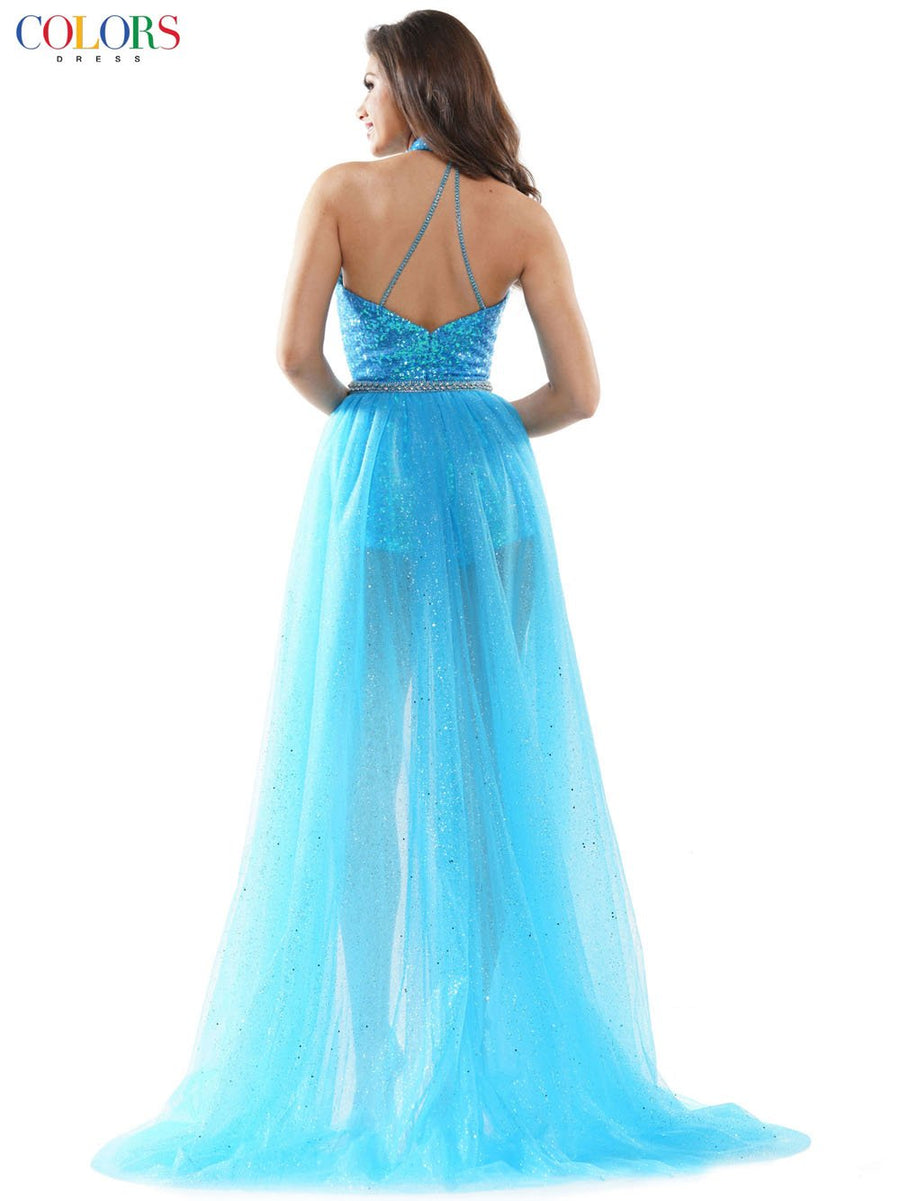 Colors Dress 2599 prom dress images.  Colors Dress 2599 is available in these colors: Orange, Turquoise, Off White.