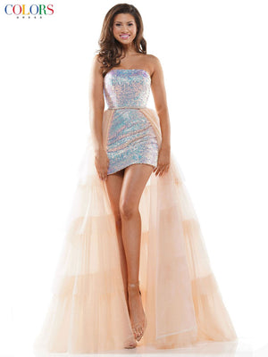 Colors Dress 2600 prom dress images.  Colors Dress 2600 is available in these colors: Black, Light Blue, Rose Gold, Champagne.