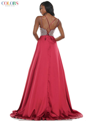 Colors Dress 2604 prom dress images.  Colors Dress 2604 is available in these colors: Champagne, Kelly Green, Red, Royal.