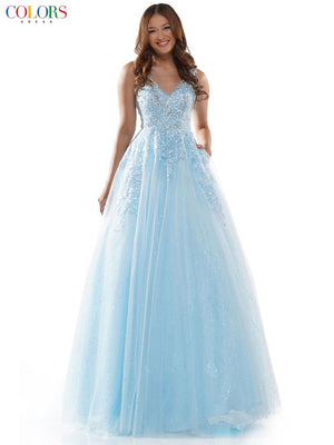 Colors Dress 2615 prom dress images.  Colors Dress 2615 is available in these colors: Apricot, Gold, Light Blue.