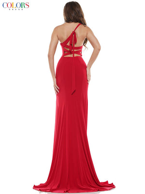 Colors Dress 2626 prom dress images.  Colors Dress 2626 is available in these colors: Deep Green, Lemon, Red, Royal.