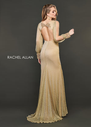 Rachel Allan 8402 prom dress images.  Rachel Allan 8402 is available in these colors: Light Gold,Hunter Green.