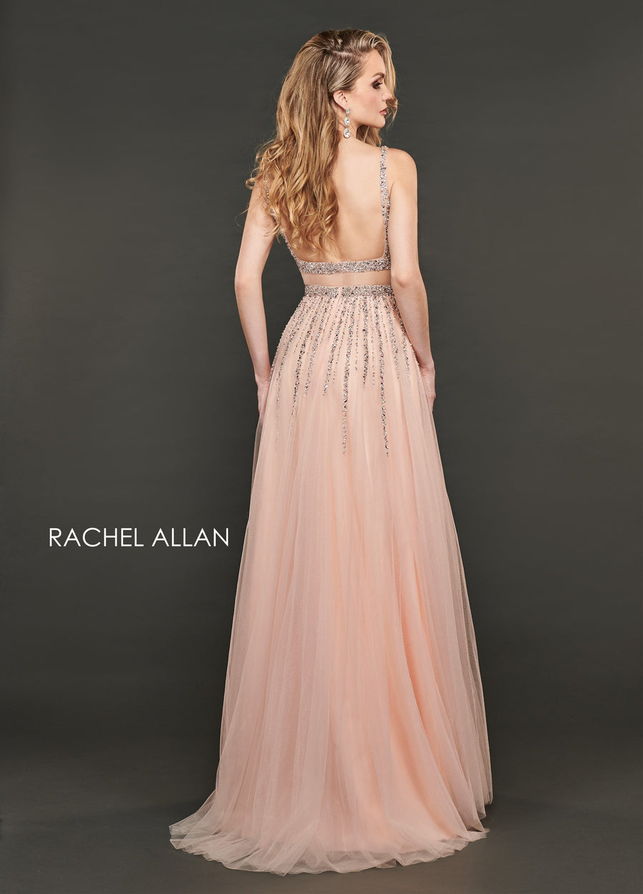 Rachel Allan 8405 prom dress images.  Rachel Allan 8405 is available in these colors: Blush Rose Gold,Hunter Green.