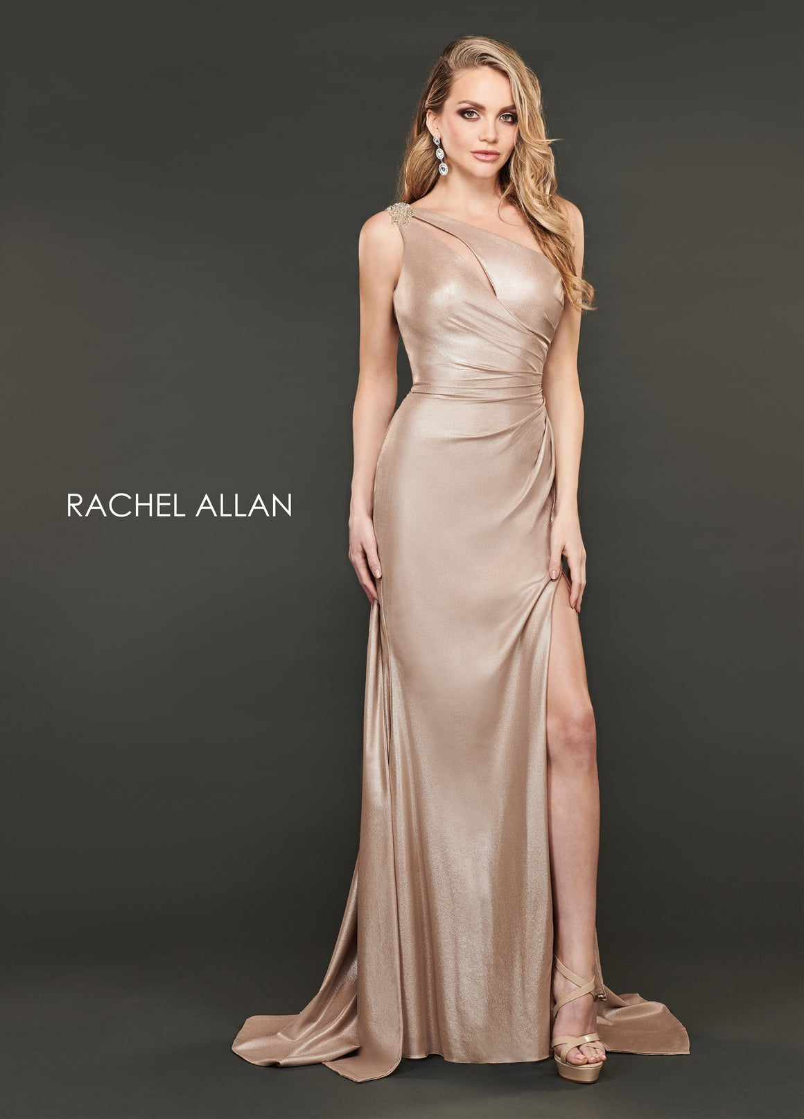 Rachel Allan 8406 prom dress images.  Rachel Allan 8406 is available in these colors: Champagne,Gunmetal.
