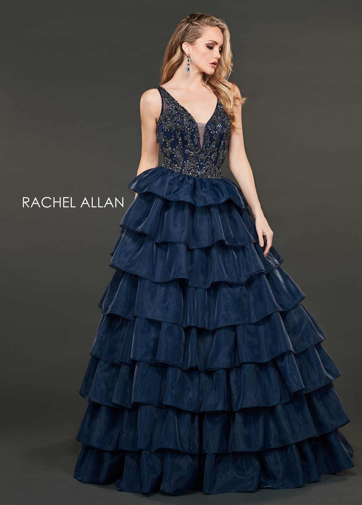 Rachel Allan 8407 prom dress images.  Rachel Allan 8407 is available in these colors: Deep Red,Navy.