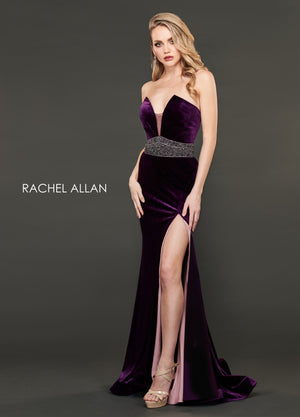 Rachel Allan 8409 prom dress images.  Rachel Allan 8409 is available in these colors: Aubergine Victorian Rose,Navy Pewter.