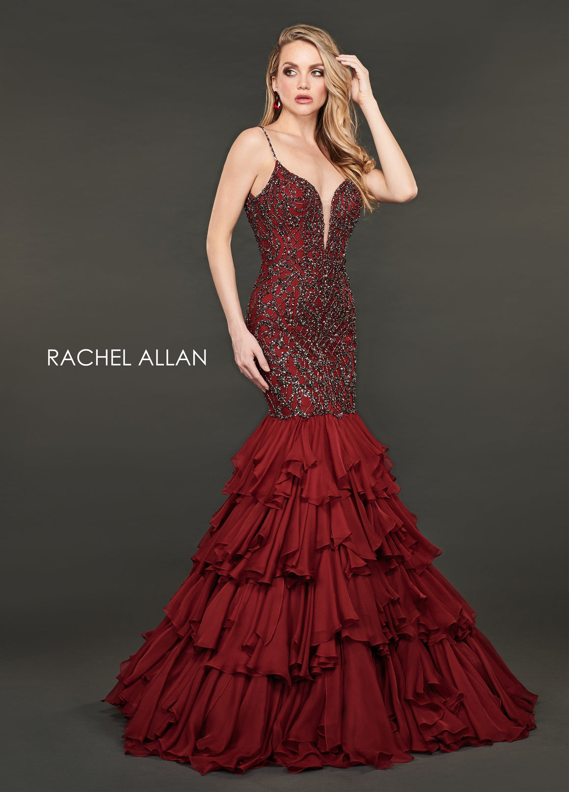 Rachel Allan 8414 prom dress images.  Rachel Allan 8414 is available in these colors: Marsala Gunmetal,Nude Silver.