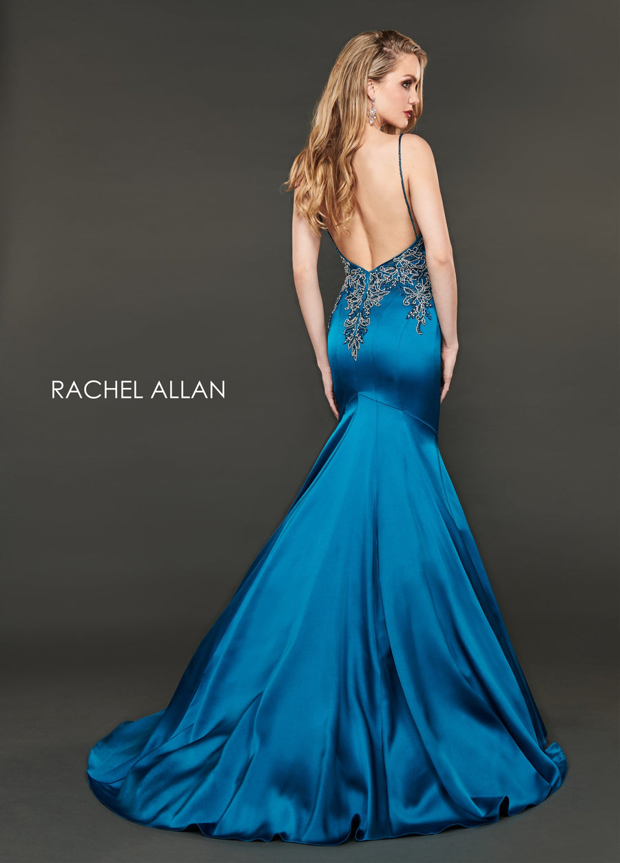Rachel Allan 8416 prom dress images.  Rachel Allan 8416 is available in these colors: Peacock,Acid Green.