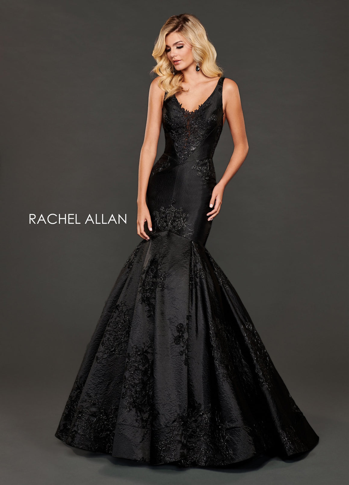 Rachel Allan 8417 prom dress images.  Rachel Allan 8417 is available in these colors: Black Gunmetal,Royal.