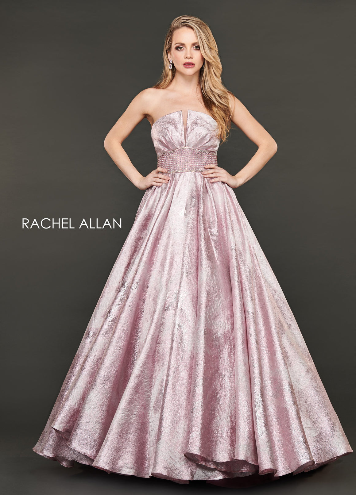 Rachel Allan 8418 prom dress images.  Rachel Allan 8418 is available in these colors: Blush,Periwinkle.