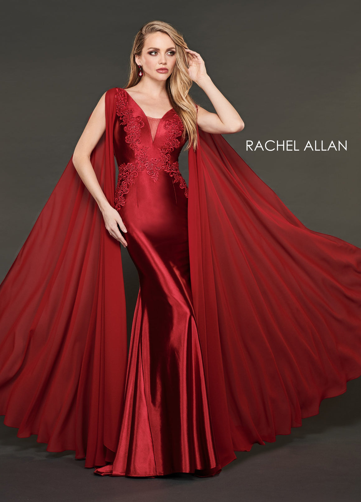 Rachel Allan 8420 prom dress images.  Rachel Allan 8420 is available in these colors: Wine,Emerald  .
