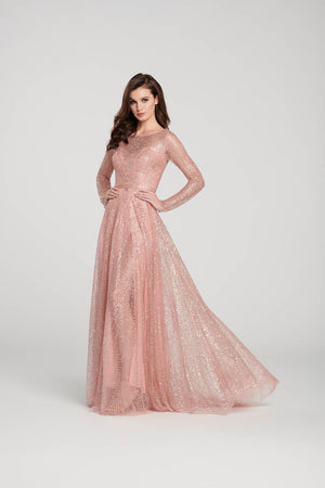 Ellie Wilde EW119003 prom dress images.  Ellie Wilde EW119003 is available in these colors: Rose Gold, Charcoal, Navy Blue.