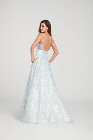 Ellie Wilde EW119005 prom dress images.  Ellie Wilde EW119005 is available in these colors: Pale Blue, Ivory, Wine, Emerald.