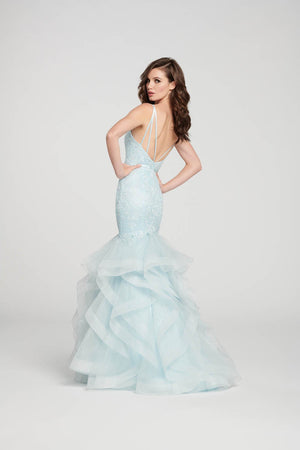 Ellie Wilde EW119008 prom dress images.  Ellie Wilde EW119008 is available in these colors: Pale Blue, Emerald, Wine.