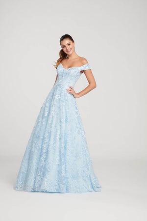 Ellie Wilde EW119009 prom dress images.  Ellie Wilde EW119009 is available in these colors: Light Blue, Wine.