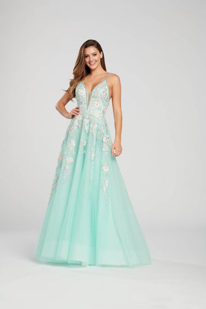 Ellie Wilde EW119010 prom dress images.  Ellie Wilde EW119010 is available in these colors: Petal Multi, Powder Blue Multi, Mint Multi.