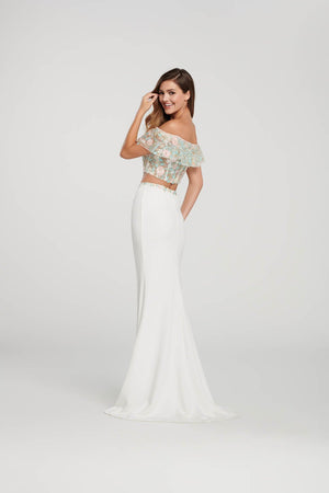 Ellie Wilde EW119012 prom dress images.  Ellie Wilde EW119012 is available in these colors: Ivory Multi, Navy Blue Multi.