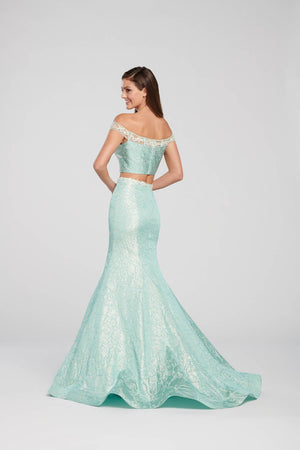 Ellie Wilde EW119014 prom dress images.  Ellie Wilde EW119014 is available in these colors: Mint, Light Blue, Petal.