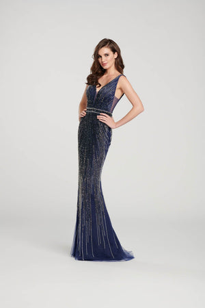 Ellie Wilde EW119017 prom dress images.  Ellie Wilde EW119017 is available in these colors: Navy Blue, Red, Platinum.