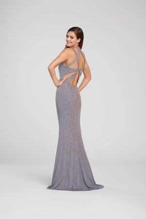 Ellie Wilde EW119018 prom dress images.  Ellie Wilde EW119018 is available in these colors: Gray, Navy Blue.