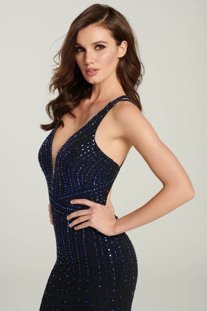 Ellie Wilde EW119019 prom dress images.  Ellie Wilde EW119019 is available in these colors: Sapphire, Blackberry, Red.