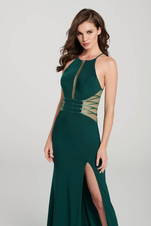 Ellie Wilde EW119024 prom dress images.  Ellie Wilde EW119024 is available in these colors: Black, Emerald, Royal Blue.