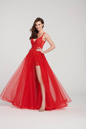 Ellie Wilde EW119031 prom dress images.  Ellie Wilde EW119031 is available in these colors: Red, Black, Ivory.