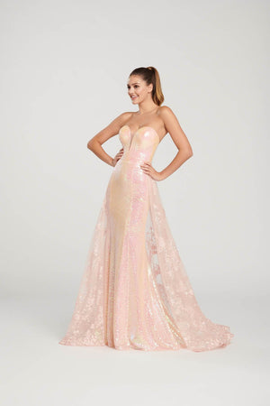 Ellie Wilde EW119039 prom dress images.  Ellie Wilde EW119039 is available in these colors: Light Coral, Purple, Emerald, Red.