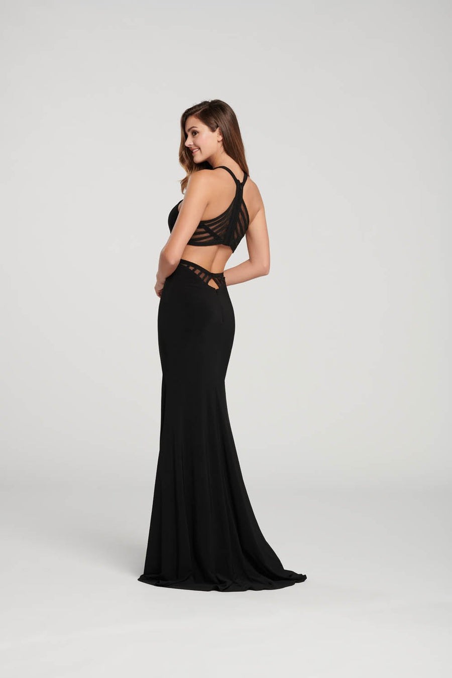 Ellie Wilde EW119082 prom dress images.  Ellie Wilde EW119082 is available in these colors: Black, Indigo, Garnet.